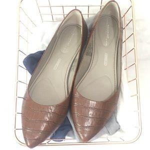Rockport Cognac Croc Leather Ballet Flats